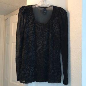 BISOU BISOU Black on Black XL Sheer Net Top